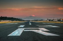 Boeing Field runway and Mount Rainier