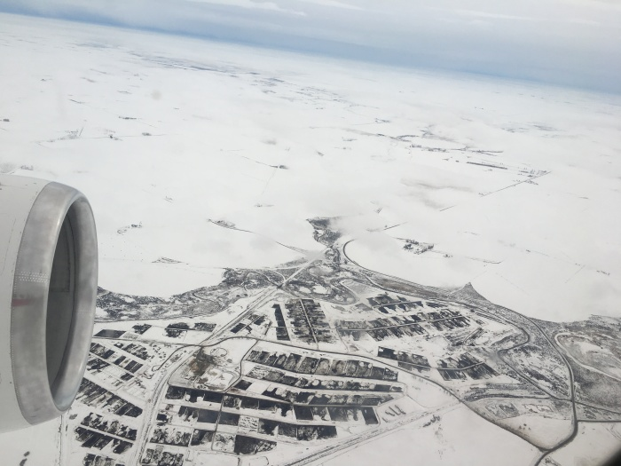 A picture of snowy Grant County, Wash., that was taken from the inside of a 757 that was part of a test of new NASA technology