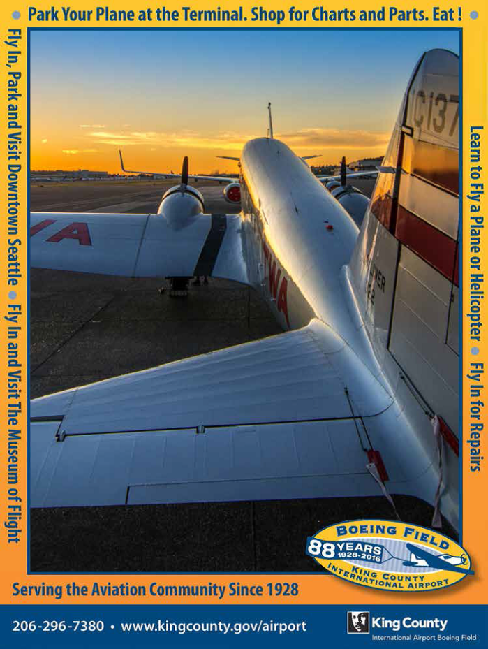 KCIA/Boeing Field's advertisement in the official program of the 2017 Northwest Aviation Conference & Trade Show.