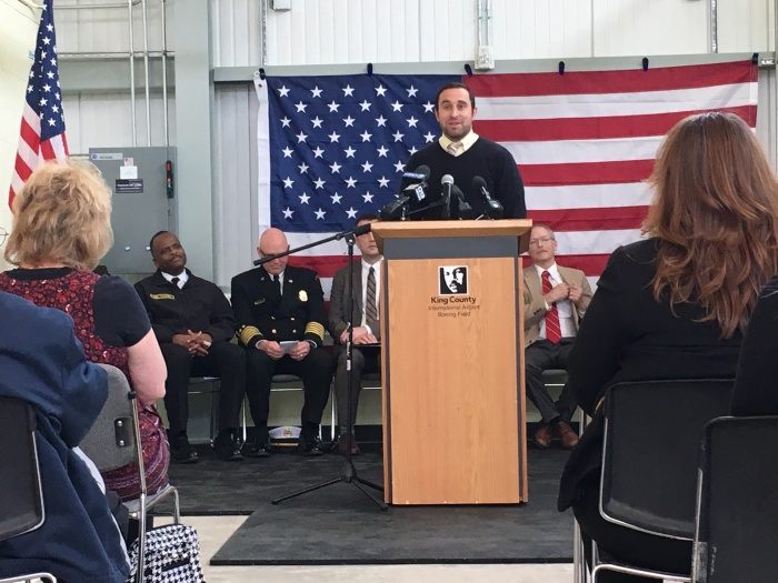 A member of Luther Dean Bonner's family addresses the crowd during the dedication of the Luther Dean Bonner Memorial Aircraft Rescue and Fire Fighting Station on Monday, April 17, 2017.