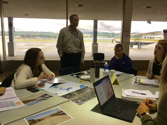 King County International Airport/Boeing Field hosted an exercise in which agencies worked together durng a theoretical traffic incident that shut down a portion of Intestate 5 for a week.