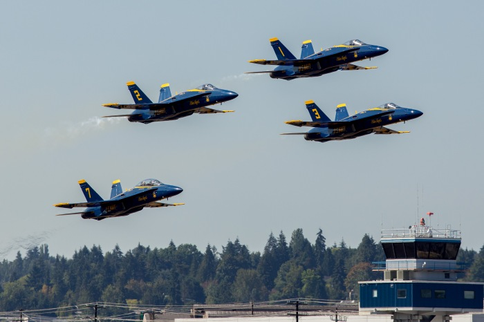 The United States Navy's Flight Demonstration Team, the Blue Angels, take off in formation at King County International Airport/Boeing Field. King County photo by Ned Ahrens.