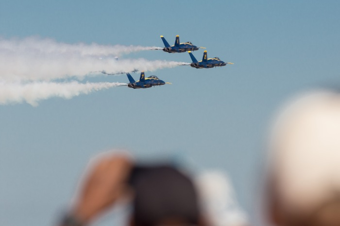 Onlookers take in the view of the United States Navy's Flight Demonstration Team, the Blue Angels, at King County International Airport/Boeing Field. King County photo by Ned Ahrens.