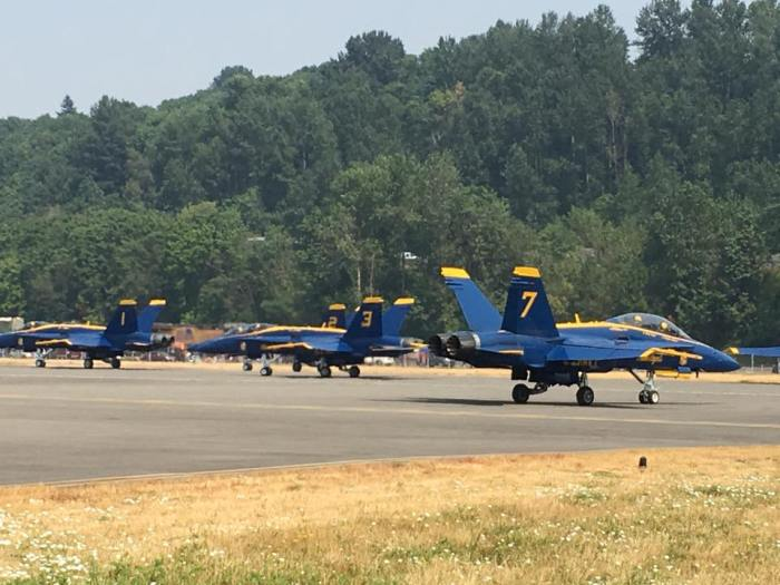 Tthe United States Navy's Flight Demonstration Team, the Blue Angels, prepare to take off from King County International Airport/Boeing Field on Friday, Aug. 4, 2017.