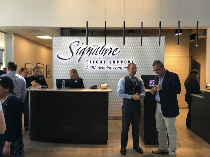 The ticket counter at Signature Flight Support's new executive terminal at King County International AirportBoeing Field.