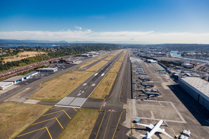 An overhead view of King County International Airport/Boeing Field facing south.