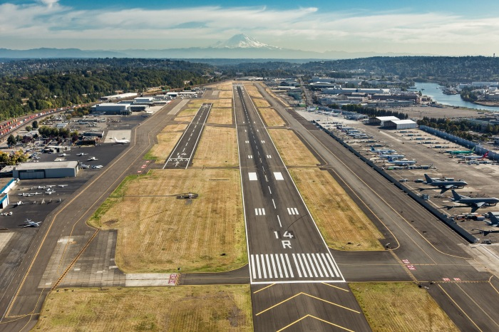 This is an aerial view of King County International Airport/Boeing Field featuring its new runway numbering.
