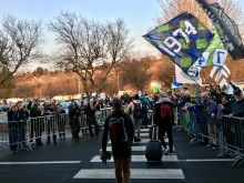 Dozens of Seattle Sounders FC fans greet the players Sunday, Dec. 11, 2017 outside the Arrivals building at King County International Airport/Boeing Field.
