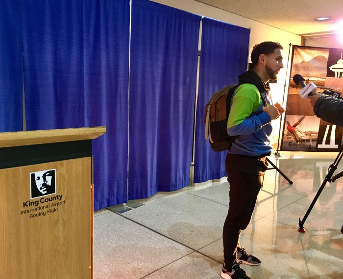 Seattle Sounders FC player Cristian Roldan speaks to media upon the club's return to King County International Airport/Boeing Field.