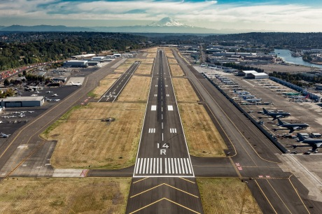 An south-facing, aeriel view of King County International Airport/Boeing Field's Main Runway. King County photo by Ned Ahrens