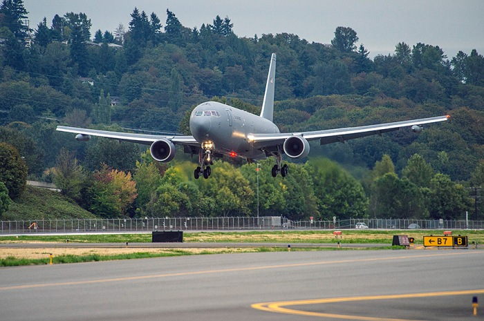 A KC-46A Pegasus takes off from King County International Airport/Boeing Field