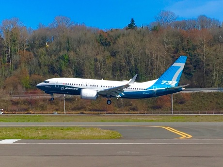 The Boeing Company's 737 MAX 7 moments before it touches down at King County International Airport/Boeing Field following its first flight on Friday, March 16, 2017