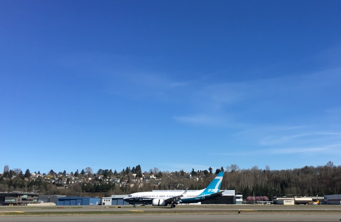 The Boeing Company's 737 MAX 7 taxis at King County International Airport/Boeing Field following its first flight on Friday, March 16, 2017.