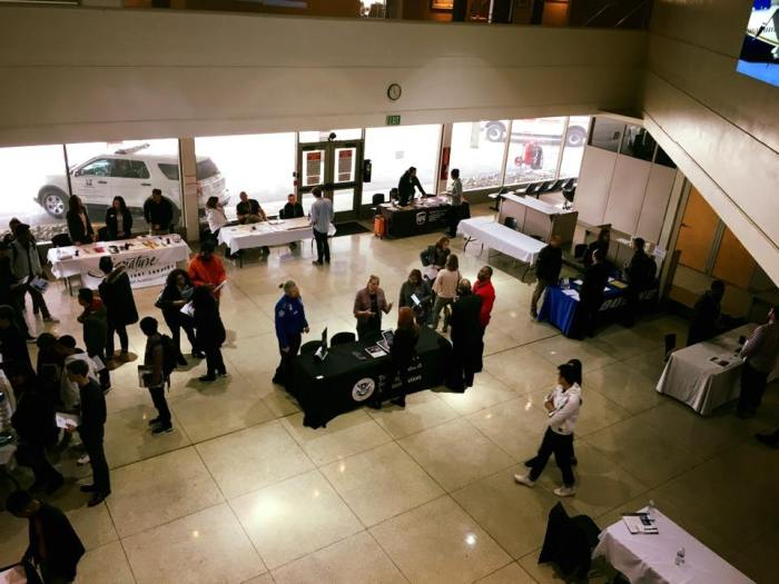 An overhead view of the inside of the Arrivals building during King County International Airport/Boeing Field's Career & Internship Fair in March 2018.
