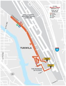 A map of the route for the Rock' N' Roll 5k, which begins and ends at the Museum of Flight.
