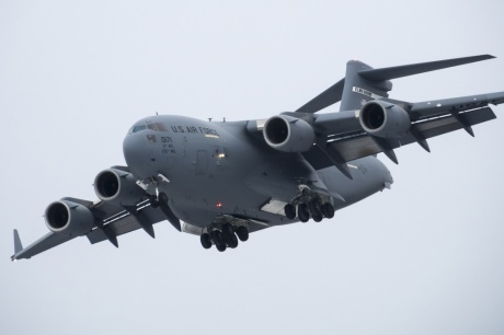 A C-17 Globemaster III aircraft of the 517th Airlift Squadron takes off from Bryant Army Airfield on Joint Base Elmendorf-Richardson, Alaska, Monday, March 7, 2016, while practicing landing and taking off from a short runway. The event marked the first time a C-17 has taken off from the airfield since its construction in 1958, when the runway was built by the U.S. Army on then-separate Ft. Richardson to support Soldiers in remote areas of Alaska. (U.S. Air Force photo/Justin Connaher)